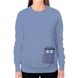 """Свитшот женский с полной запечаткой """"Доктор Кто и ТАРДИС / Doctor Who & TARDIS"""" - doctor who, tardis, доктор кто, тардис, дэвид теннант"""