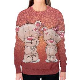 """Свитшот женский с полной запечаткой """"Влюбленные мишки Тедди"""" - парные, тедди, мишки тедди, teddy"""