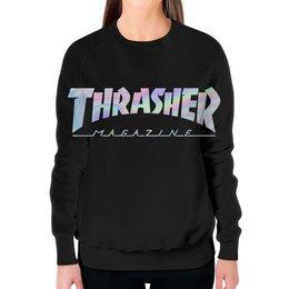 """Свитшот женский с полной запечаткой """"Thrasher holographic"""" - thrasher, трэшер, свитшот thrasher, holographic"""
