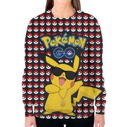 """Свитшот женский с полной запечаткой """"Pokemon GO"""" - игра, покемон, пикачу, доллар, pikachu"""