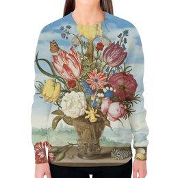 """Свитшот женский с полной запечаткой """"Букет цветов на полке (Амброзиус Босхарт)"""" - цветы, картина, живопись, натюрморт, босхарт"""