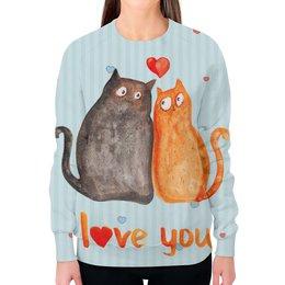 """Свитшот женский с полной запечаткой """"Влюбленные коты"""" - любовь, коты, i love you"""