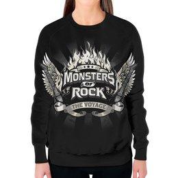 """Свитшот женский с полной запечаткой """"Monsters Of Rock"""" - гитара, guitar, rock music, monsters of rock, монстры рока"""