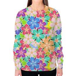 """Свитшот женский с полной запечаткой """"Floral Design"""" - цветы, жене, женщине, флора, арт дизайн"""