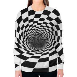 """Свитшот женский с полной запечаткой """"ВОРОНКА ШАХМАТНАЯ. ЧЕРНОЕ И БЕЛОЕ."""" - спираль, иллюзия, шахматная доска, воронка"""