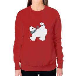 """Свитшот женский с полной запечаткой """"Белый медведь"""" - новый год, животные, медведь, мишка, белый медведь"""