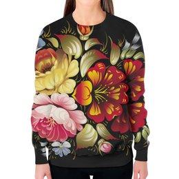 """Свитшот женский с полной запечаткой """"Хохлома"""" - цветы, рисунок, творчество, хохлома, роспись"""