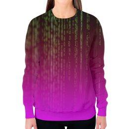 """Свитшот женский с полной запечаткой """"Матрица"""" - компьютеры, матрица, код, программа, пароль"""