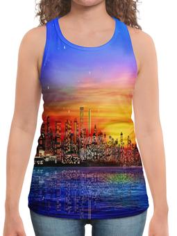"""Борцовка с полной запечаткой """"Город"""" - город, здания, мегаполис, краски, вода"""
