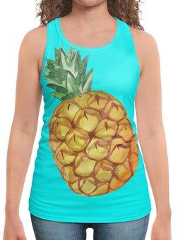 """Борцовка с полной запечаткой """"Ананас"""" - экзотический, лето, акварель, ананас, фрукты"""