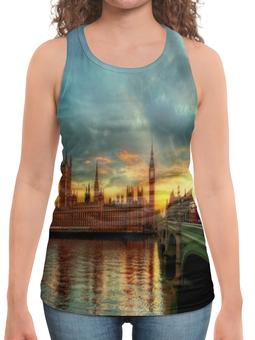 """Борцовка с полной запечаткой """"Лондон"""" - страны, города, лондон, закат, река"""