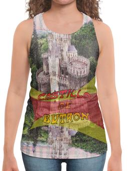 """Борцовка с полной запечаткой (Женская) """"Замки Испании. Замок Бутрон"""" - красный, испания, полоски, крепость, испанский флаг"""