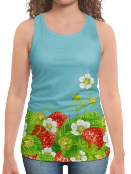 """Борцовка с полной запечаткой """"Земляничная поляна"""" - лето, цветы, ягоды, земляника"""