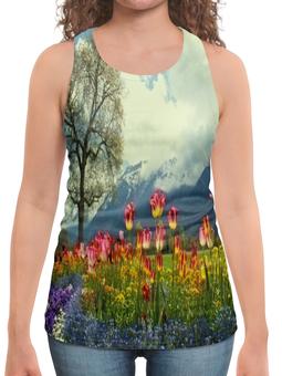 """Борцовка с полной запечаткой """"Горный пейзаж"""" - растение, весна, природа, горы, цветочки"""