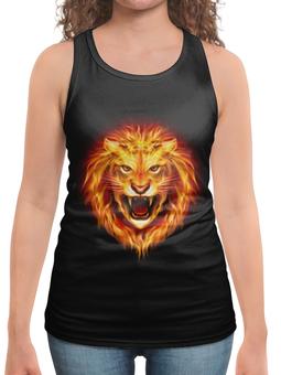 """Борцовка с полной запечаткой """"Огненный лев"""" - лев, огонь"""