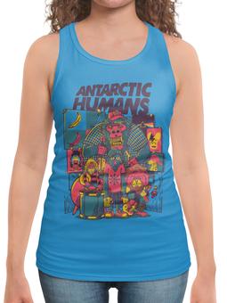"""Борцовка с полной запечаткой (Женская) """"Antarctic Humans"""" - обезьяна, рок музыка, рок группа, арт прикол, antarctic monkeys"""