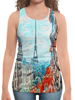 "Борцовка с полной запечаткой ""Париж"" - город, краски, природа, париж, эйфелева башня"