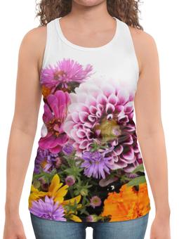 """Борцовка с полной запечаткой """"Цветы"""" - арт, цветы, 8 марта, день рождения, букет"""