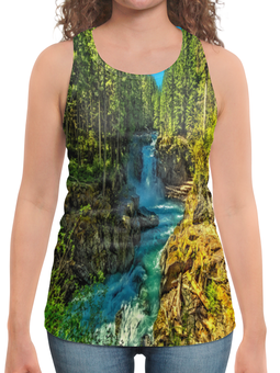 """Борцовка с полной запечаткой """"Лесной пейзаж"""" - деревья, природа, горы, пейзаж, река"""