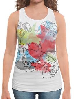 """Борцовка с полной запечаткой """"Череп Акварель"""" - череп, цветы, рисунок, кляксы, акварель"""