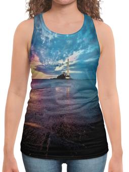 """Борцовка с полной запечаткой """"Маяк в море"""" - море, океан, волны, маяк, земля"""