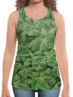 """Борцовка с полной запечаткой """"Зеленые листья"""" - растение, листья, зеленый, куст, окантовка"""