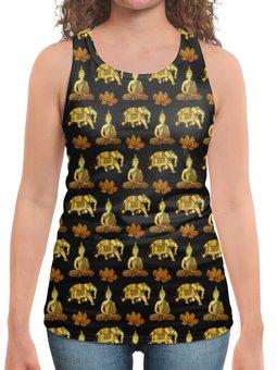 """Борцовка с полной запечаткой """"Тайский узор"""" - слон, золотой, роскошь, таиланд, элегантный"""