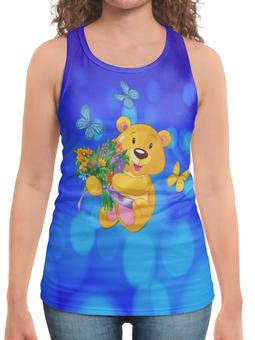 """Борцовка с полной запечаткой """"Мишка и букет"""" - бабочки, цветы, медведь, мишка, игрушки"""