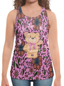 """Борцовка с полной запечаткой """"Мишка и бабочки"""" - бабочки, цветы, медведь, мишка"""
