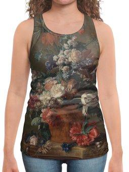 """Борцовка с полной запечаткой """"Ваза с цветами (Ян ван Хёйсум)"""" - цветы, картина, живопись, натюрморт, ян ван хёйсум"""