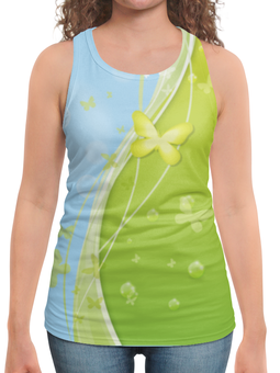 """Борцовка с полной запечаткой """"Летний мотив"""" - бабочки, лето, небо, трава, мыльные пузыри"""