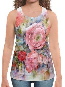 """Борцовка с полной запечаткой """"Акварельный букет"""" - цветок, роза, акварель, нежный, картина акварелью"""