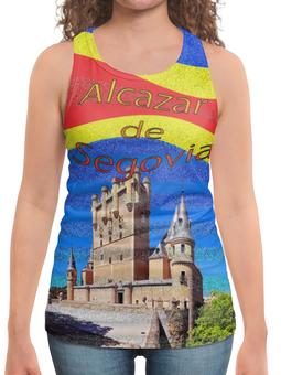 """Борцовка с полной запечаткой (Женская) """"Замки Испании. Замок Сеговия."""" - голубой, испания, полоски, крепость, испанский флаг"""