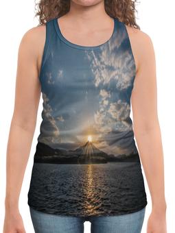 """Борцовка с полной запечаткой """"Закат """" - солнце, море, природа, закат, горы"""