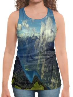 """Борцовка с полной запечаткой """"Природа"""" - лес, природа, горы, озеро, тучи"""