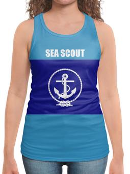 """Борцовка с полной запечаткой (Женская) """"Морской разведчик"""" - море, якорь, канат, разведчик"""