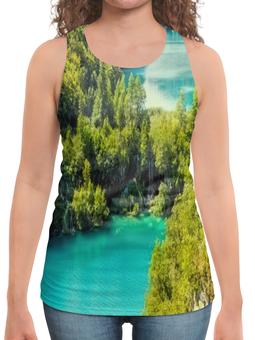 """Борцовка с полной запечаткой """"Природа"""" - страны, деревья, природа, водопад, озеро"""