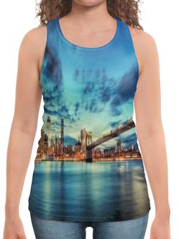 """Борцовка с полной запечаткой """"Бруклинский мост"""" - страны, города, мост, река, ночной город"""