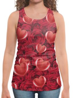 """Борцовка с полной запечаткой """"Сердечки и розы"""" - сердца, день святого валентина, 14 февраля, розы, день влюблённых"""
