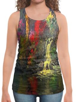 "Борцовка с полной запечаткой ""Водопад"" - картина, краски, природа, пейзаж, водопад"