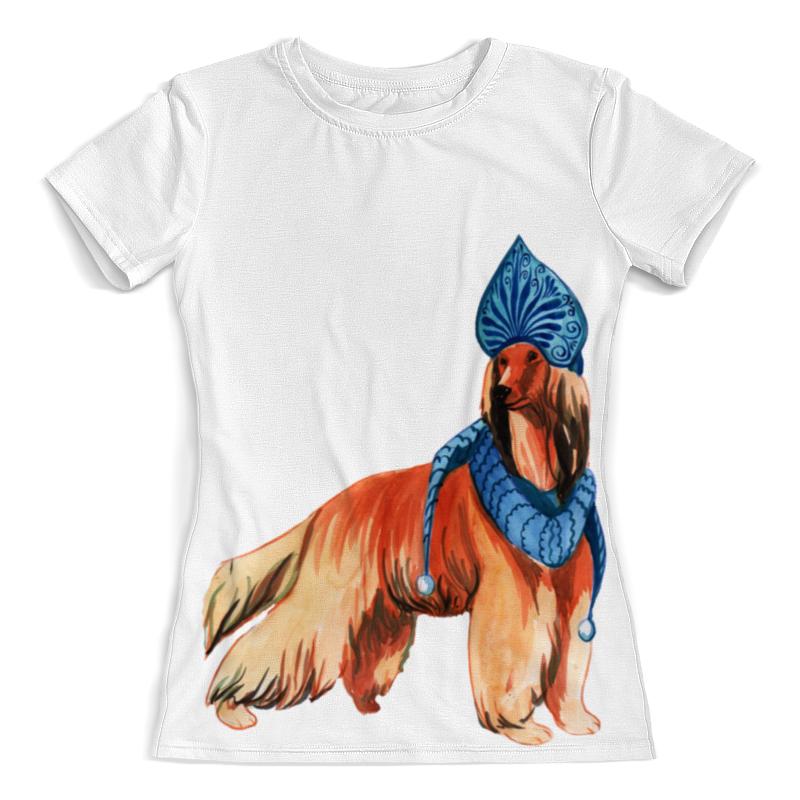 футболка с полной запечаткой для мальчиков printio забавная акварельная собака символ 2018 года Футболка с полной запечаткой (женская) Printio Акварельная новогодняя собака