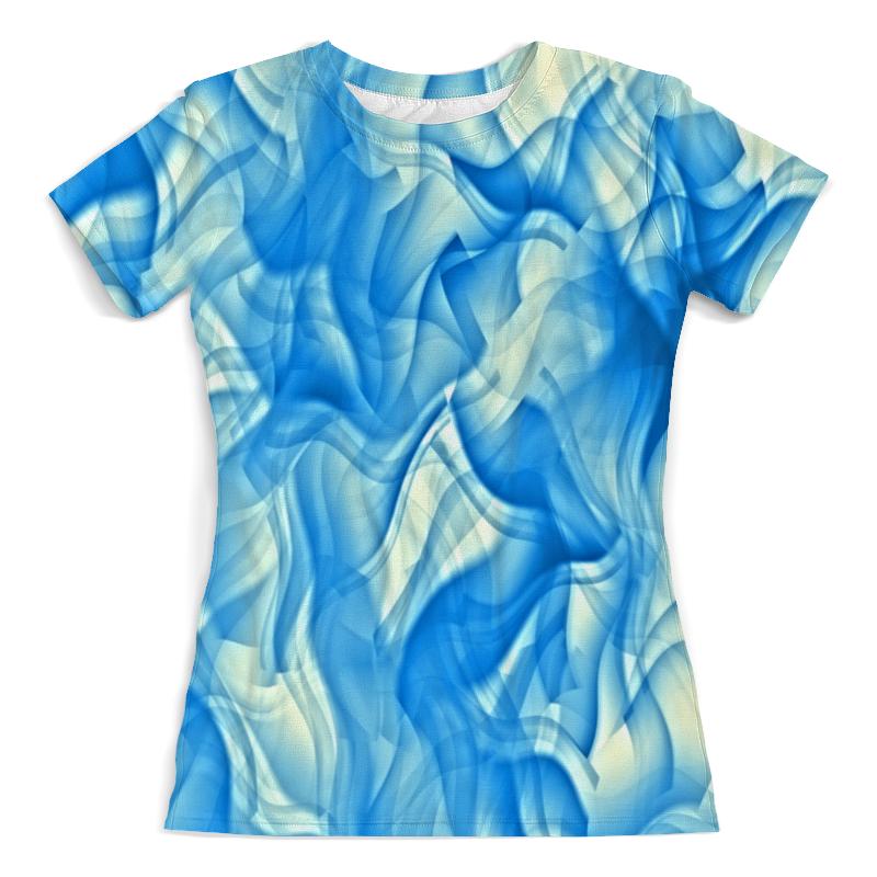Футболка с полной запечаткой (женская) Printio Бело-голубой узор