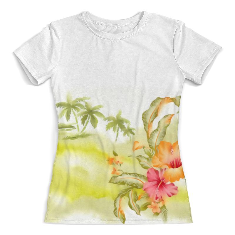 Футболка с полной запечаткой (женская) Printio Тропические цветы, пальмы. блокнот printio тропические цветы пальмы