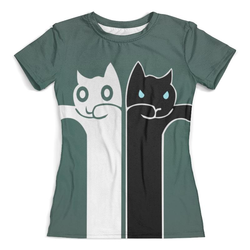 Футболка с полной запечаткой (женская) Printio Белый кот , чёрная кошка (1) футболка с полной запечаткой женская printio чёрная вдова black widow