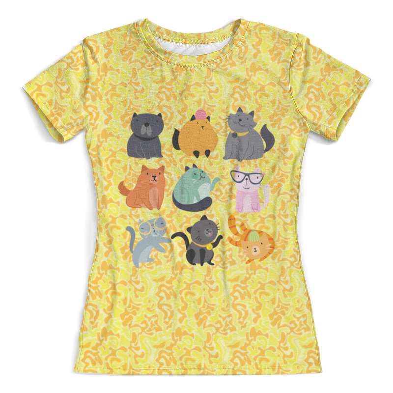 Футболка с полной запечаткой (женская) Printio Цветные кошки футболка с полной запечаткой женская printio шары цветные