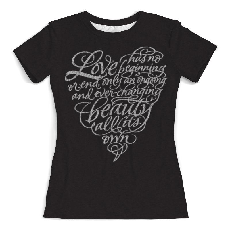 Футболка с полной запечаткой (женская) Printio Love lettering (сердце с надписью)
