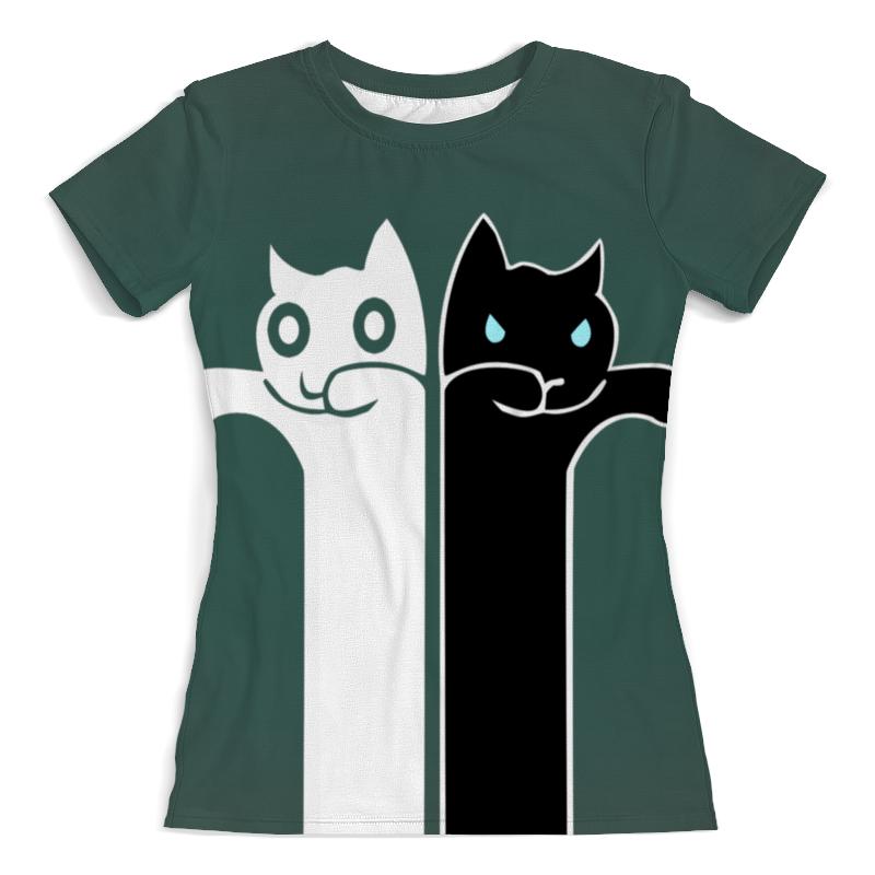 Футболка с полной запечаткой (женская) Printio Белый кот , чёрная кошка (1) футболка с полной запечаткой женская printio кошка