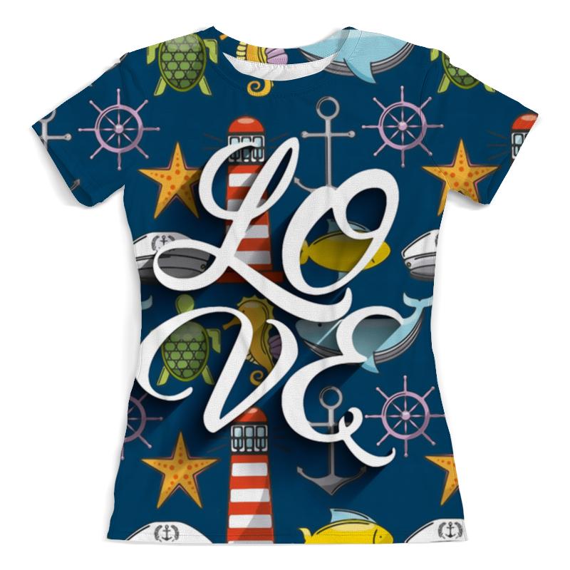 Футболка с полной запечаткой (женская) Printio Я люблю море футболка с полной запечаткой женская printio девушка море от milanna