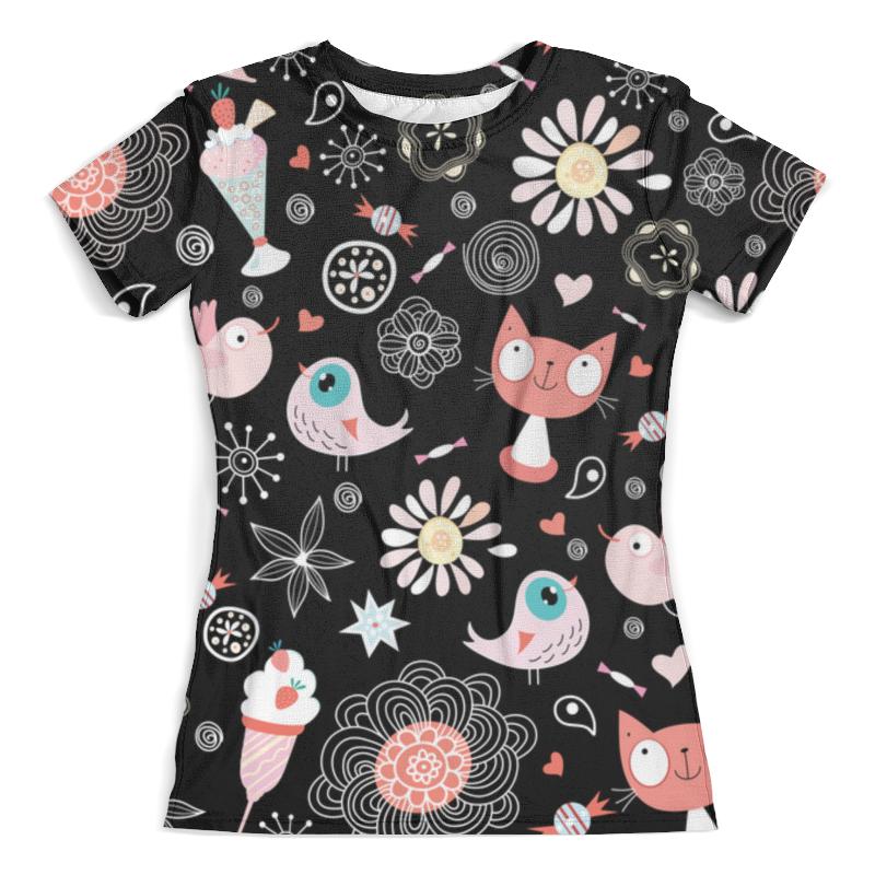 Футболка с полной запечаткой (женская) Printio Коты и птички футболка с полной запечаткой женская printio коты меломаны
