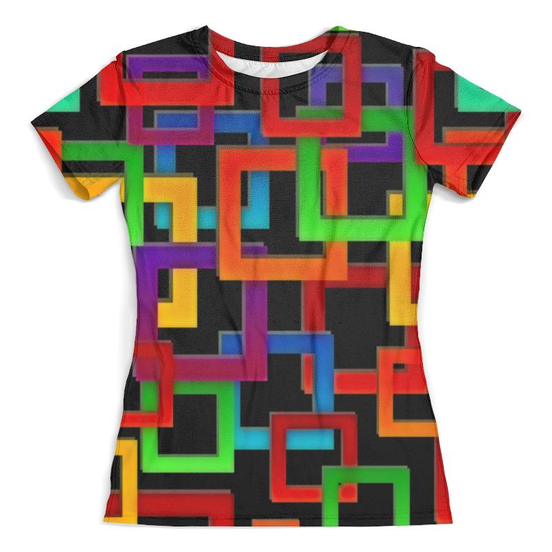 все цены на Футболка с полной запечаткой (женская) Printio Цветные квадраты онлайн